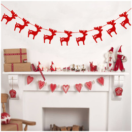 Wholesale Wholesale Pennant Strings - Christmas Decor Elk Paper Garlands String Hanging Flag New Year Party Decoration flowers Pennants Bunting Wedding Party S201712
