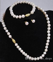 Wholesale Cultured Pearl Necklace Set - Wholesale 7-8MM White Akoya Cultured Pearl Necklace Bracelet Earring Set 18''