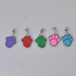 Wholesale Metal Sign Printing - Estrella Cute Paw Print Pet Tag Pretty Small Dog Cat Collar ID Name Of Signs Random Color