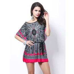 Wholesale Tunic Batwing Summer Dress - Wholesale- vestido feminino women plus size summer dresses 2016 Loose Ethnic Print Skater Batwing sleeve tunics vintage Sexy bohemian dress