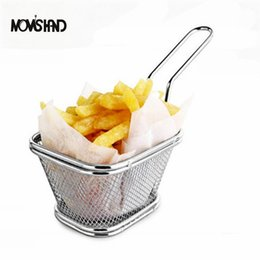 Wholesale Serving Tools - Novelty Kitchen Cooking Tools Stainless Steel Fryer Serving Food Presentation Basket French Fries Rack