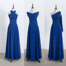 Wholesale Orange Beach Color - Long Chiffon Convertible Bridesmaid Dresses Royal Blue 2017 New Beach Wedding Party Dress 100% Real Photo