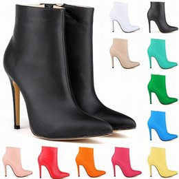 Wholesale Womens Navy Blue Boots - NEW ARRIVED WOMENS MATT LEATHER HIGH HEELS STILETTO CASUAL POINTED TOE ANKLE BOOTS SHOES PLUS Women SIZE 4 5 6 7 8 9 10 11 D0008