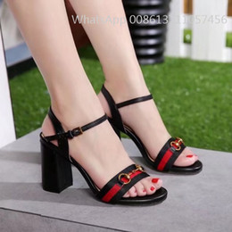 Wholesale Sexy Black Shoes Sandals - actual shoes! Much Color genuine leather High Heel sandals luxury women designer 2017 hot sales summer wedge Ankle Buckles Ladies Sexy High