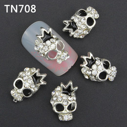 Wholesale Nail Products 3d Art - Wholesale- Blueness 10pcs lot 3D nail alloy decoration glitter rhinestone silver skull nail art stud manicure nail product supplies TN708