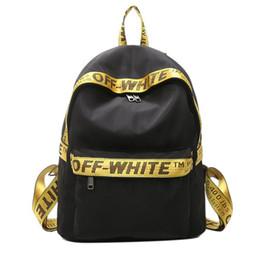 Wholesale New Korean Version - New off white simple Korean version of the nylon ribbon shoulder bag fashion trend high school students backpack men and women travel bag