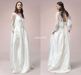 Wholesale French Gowns - Bohemian French Lace Wedding Dresses With Open Back 2017 Sheer Neck 3 4 Sleeve Modern Bridal Dress Soft Satin Spaghetti Beach Wedding Gowns