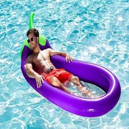 Wholesale Kids Swim Float Tube - 250cm Inflatable Eggplant Lounge Chair Mesh Eggplant Swimming Float Pool Float Tube Raft Kid Swimming Ring Waster Toys CCA6708 10pcs