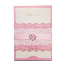 Wholesale Printable Lace Invitations - Wholesale- 12pcs lot Pink Heart Rhinestone Diamond Laser Cut Wedding Invitations Elegant Lace Party Decoration Card Free Printable JJ885