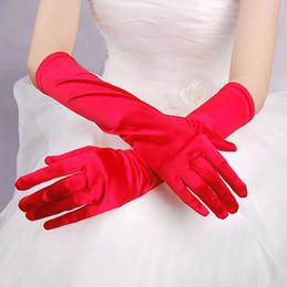 Wholesale Gants Glove - Red Black White Ivory Satin Long Bridal Gloves Full Finger Gants De Mariage Blanc Cheap Wedding Accessories