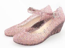 Wholesale Girls Kitten Shoes - 2017 Women sandals Summer girls wedge jelly shoes beach comfortable Wedges Sandals High Heels Glass Slipper Jelly Shoe