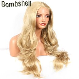Wholesale Gold Lace Wig - Bombshell gold blonde natural wave synthetic lace front wig glueless heat resistant fiber with natural hairline for woman stock