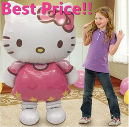 Wholesale Pink Party Ballons - 116*65cm Hello Kitty balloons big large helium mylar ballons for Christmas party baby foil ballon baloes globos Birthday Balls AB002