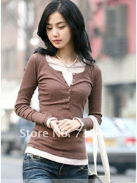 Wholesale T Shirt Free Shiping Women - Wholesale-11colors Free shiping The new style wooden five buckle long-sleeved T-shirt long sleeve shirt #C0036