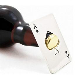 Wholesale White Wine Bottles - New Stylish Hot Sale 1pc Poker Playing Card Ace of Spades Bar Tool Soda Beer Bottle Cap Opener Gift