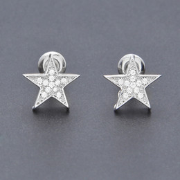 Wholesale Mens Punk Earrings - Brand Designer Mens 18K Gold Plated AAA Zircon Pentagram Stud Earrings Fashion Hip Hop Punk Earring For Men Jewelry