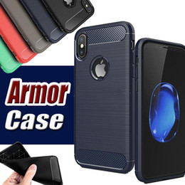 Wholesale Fiber Absorption - Rugged Armor with Anti Shock Absorption Carbon Fiber Design Case for iphone X 8G 7 PLUS 6S PLUS 5S SE with Retail Box