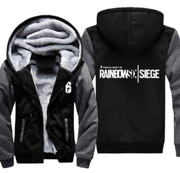 Wholesale fleece zip - Rainbow Six Siege Hoodie Jacket Famous Game Coat Men's Winter Casual Super Warm Thicken Fleece Zip Up Sweatshirt USA EU Size S-3XL