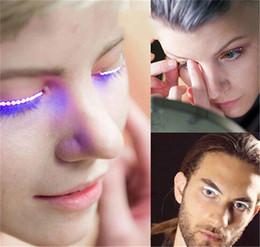 Wholesale eyelashes for halloween - 2018 Lashes Interactive LED Eyelashes Fashion Glowing Eyelashes Waterproof for Dance Concert Christmas Halloween Nightclub Party New