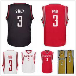 Wholesale Mens Shirt Red - Cheap Mens Houston #3 Chris Paul Jersey Shirt Uniform Red White Black Color Wholesale Chris Paul Golden College Basketball Jerseys