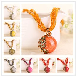 Wholesale Twisted Chain Necklaces For Women - 16 Styles Bohemian Natural Peacock Stone Pendant Thick Twisted Beads Chain Necklace for Women Statement Accessories Collar