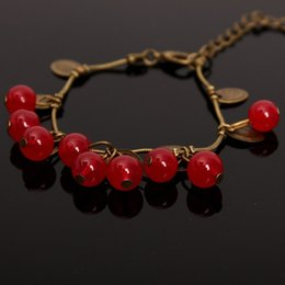 Wholesale Sweet Cherry Bracelet - Korean retro sweet garnet small cherry beads chain bracelet red stone beads bangles
