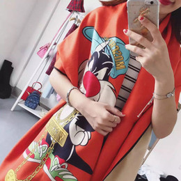 Wholesale Rabbit Print Shawl - Wholesale-Cartoon rabbit pattern digital printed cashmere scarf spring Autumn And Winter women shawl