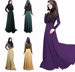 Wholesale Muslim Abaya Clothing - New High quality Women Lace muslim Maxi Dress O Neck Long Dress Elegant Ladies Casual Muslim Party Dresses Islamic Abaya Clothing