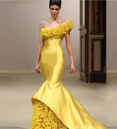 Wholesale Sexy Fasion - Womens Evening Gowns Vestido Longo De Renda 2017 New Fasion Sexy One Shoulder Yellow Mermaid Long Prom Dresses