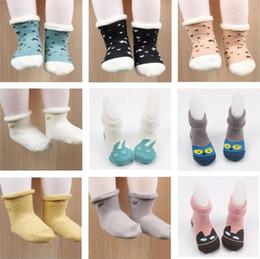Wholesale Newborn Wears - Socks Cotton Non-Slip Baby Newborn Cartoon Soft Floor Wear floor Socks For Girls Thicken Terry 9 Design Free Shipping