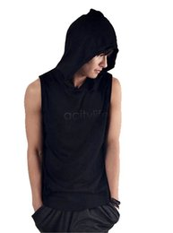 Wholesale Wholesale Hood T Shirts - Wholesale- High Quality Man Spring 2017=5 Men's T-Shirt Male Casual T-Shirt Style With A Hood Sleeveless Shirt 10