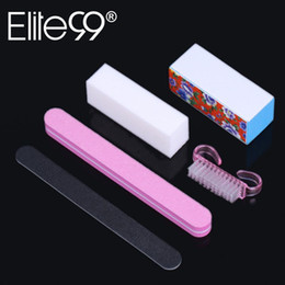 Wholesale Professional Nails Designs - Wholesale- Elite99 5Pcs Professional Manicure Tools Kit Rectangular Nail Files Brush Nail Art Set for Pro Nail Art Design
