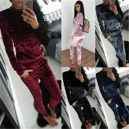 Wholesale Ladies Velvet Suits - Fashion Women Ladies Crushed Velvet Lounge Suit Sweatshirt Pant Women Lounge Wear Tracksuit Long Sleeve Tops Plus Size S-XXXL