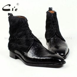 Wholesale Red Buttom - Wholesale- cie Free Shipping Handmade Horse Hair Empossed Ostrich Calf Leather Outsole Buttom Breathable Color Black Men Leather Boots A86
