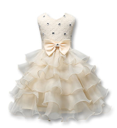 Wholesale Baby Girl Dresses Butterfly - Christening Dress Baby Clothing 3D Rose Flower Lace Dress Wedding Party Dresses with Butterfly Baby Girl Baptism Princess Dress