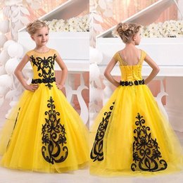Wholesale Lace Skirt Juniors - Girls Pageant Gowns 2017 Bright Yellow Black Lace Junior Size 12 14 Pageant Gown Ruffled Skirt One Shoulder Flower Girl Dress