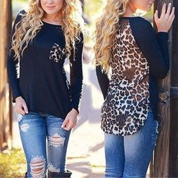 Wholesale Leopard Print T Shirts Women - Wholesale-2016 Summer Spring Leopard Printed T Shirt O Neck Raglan Sleeve Casual T Shirt Irregular Patchwork Tops Black White S-XXL