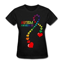 Wholesale Ribbon Autism - 2017 Fashion Autism Awareness Ribbon Women T Shirt 100 Cotton O-Neck Casual Tops Tees