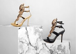 Wholesale Chain Ankle Strap High Heel - Sexy Europe style multicolor metal flame leaves elegant stripe hollow-out peep-toe shoes high-heeled sandals water proof table Female shoes