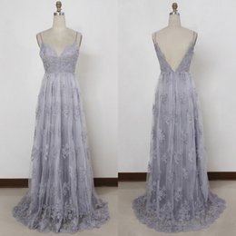 Wholesale Winter Dressess - Vestidos Festa A Line Spaghetti Straps Silver Evening Dressess Vintage Lace Backless Floor Length Prom Party Gowns Custom Made High Quality