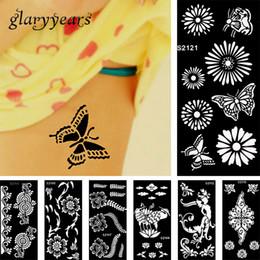henna tattoo designs beine Rabatt Großhandel-28 Design 1 Stück Henna Tattoo Schablone Schönheit Frauen Körper Bein Hand Füße Kunst Airbrush Zeichnung Farbe Design Tattoo Aufkleber Vorlage