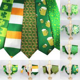 Wholesale Handmade Holiday Decorations - Hot Sale St Patrick's Day Tie Green Shamrock Necktie Irish Men Neck Tie Ireland Flag Men's Neck Ties Beer Festival Decoration Holiday Gift