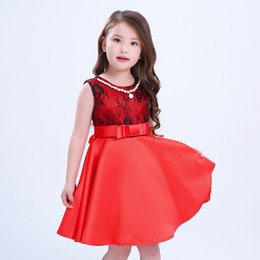 Wholesale Girls Peplum Dress Floral - 2017 Summer Children's Pearl Chains Dress With Girdle Girls Dresses Free Shipping Beautiful Floral Printing Princess Skirt