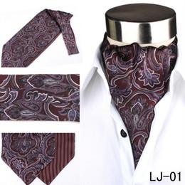 Wholesale Vintage Ascot Cravat - Men's Vintage Jacquard Silk Polka Dots Flower Paisley Scarves Cravat Ascot Wedding Prom Neck Ties Classic Leisure Geometric Floral Tie Men