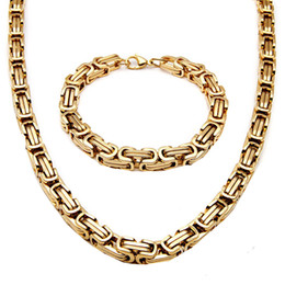 Wholesale Mens Heavy Chain Necklace - Vintage Mens Stainless Steel Chunky Byzantine Bracelet Necklace Chain Heavy Metal Gold Tone 2Pcs Jewelry Set Punk Rock Style