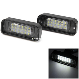 Wholesale Pair License Plate - 2pcs Pair 12V Car License Plate Light SMD3528 18 LEDs Lamp Bulb External Replacement Warn Lights White for Benz W220 1999 - 2005