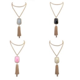 irregular shape plate Promo Codes - Wholesale-2016 American Kendra Jewelry Gold Plated Long Link Chain Irregular Polygon Shaped Candy Color Resin Stone Charm Tassels Necklace
