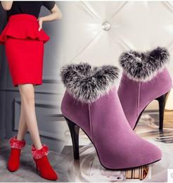 Wholesale Stiletto Heel Fur Boots - New Arrival Hot Sale Specials Super Fashion Influx Roman Martin Sweet Rabbit Fur Pointed Cotton Plus Velvet Warm Heels Ankle Boots EU33-45