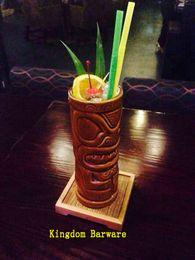 Wholesale Bamboo Cocktail - Wholesale- Set of 6 Bamboo Coaster For Cocktail Drink Glass Tiki Mug Bamboo Coaster
