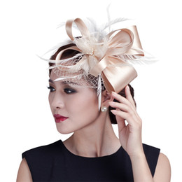 Wholesale Ladies Feather Headbands - 2017 Women Champagne Feather Flower Fascinator With Bow Ladies Hair Accessories Wedding Party Floral Headband Hairpin Hair